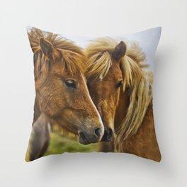 Two horses portrait  Throw Pillow