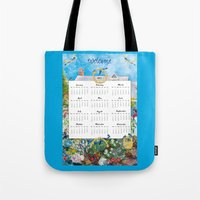 calendar 2015 Tote Bags featuring Welcome 2015 Calendar by KarenHarveyCox