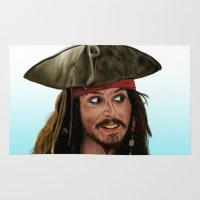 jack sparrow Area & Throw Rugs featuring Jack Sparrow by San Fernandez