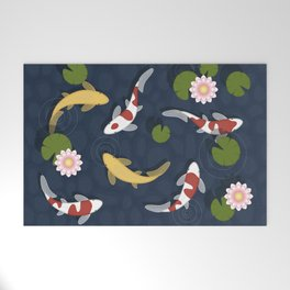 Japanese Koi Fish Pond Welcome Mat