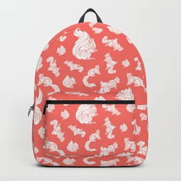 White Swirl Squirrels on Coral Color Backpack