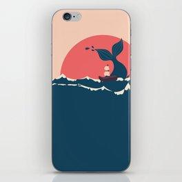 Whale and boat minimalist iPhone Skin