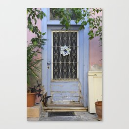 Door in port of Aegina 1 Canvas Print