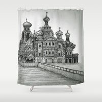russia Shower Curtains featuring St. Petersburg, Russia by Olivia Nicholls-Bates