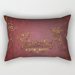 Music, clef with key notes on red background Rectangular Pillow