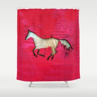 horse Shower Curtains featuring Horse by Brontosaurus