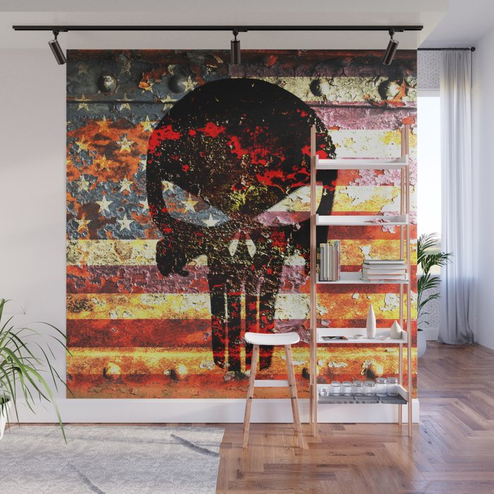 Skull On Rusted American Flag Wall Mural By Molonlabecreations