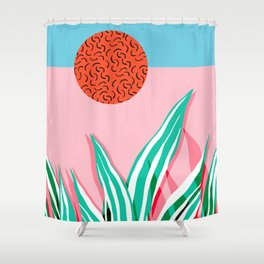 Freakin' - memphis throwback style palm springs neon art print 1980s vintage desert road trippin Shower Curtain