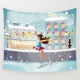 Ice Skating Girl Wall Tapestry