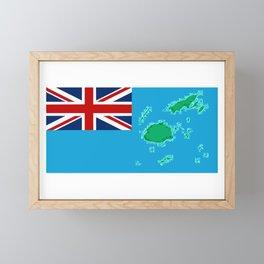 Fiji Map with Fijian iTaukei Flag Framed Mini Art Print
