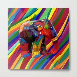 Full Color Abstract Elephant Metal Print