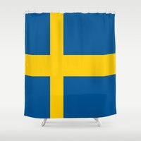 sweden Shower Curtains featuring Flag of Sweden by Neville Hawkins