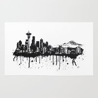 seattle Area & Throw Rugs featuring Seattle. by Dioptri Art