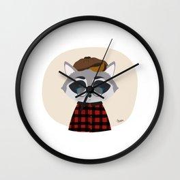 Hipster Raccoon Wall Clock