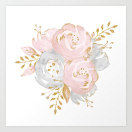 Roses Gold Glitter Pink by Nature Magick Art Print