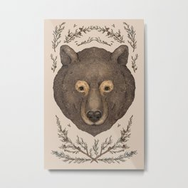 The Bear and Cedar Metal Print