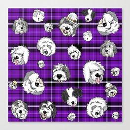 Plaid Sheepies Purple Canvas Print