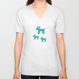 Dogs-Teal Unisex V-Neck