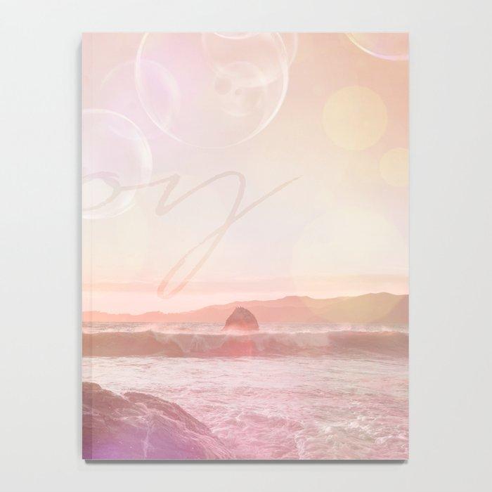 Joy at the sea bubbles sunst ocean typography art Notebook