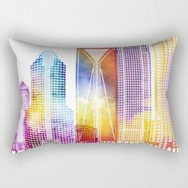 Charlotte landmarks watercolor poster Rectangular Pillow