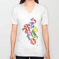 numbers V-neck T-shirts featuring Numbers by Resistenza