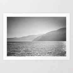 Sea and foggy mountains Art Print