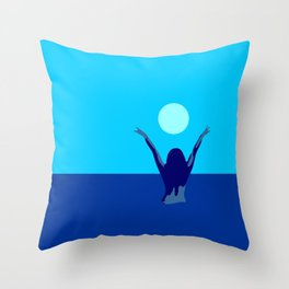 Blue sky and moon is calling me.. Throw Pillow