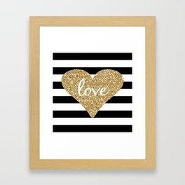 Love in a Gold Heart Framed Art Print
