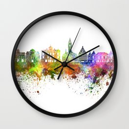 Lille skyline in watercolor background Wall Clock