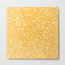 Hedgehog Paisley_Yellow Metal Print