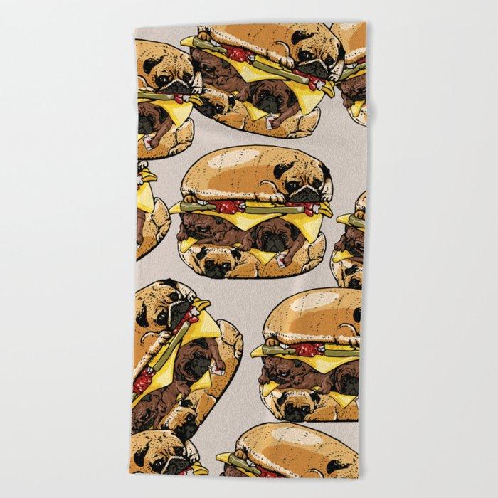 Pugs Burger Beach Towel