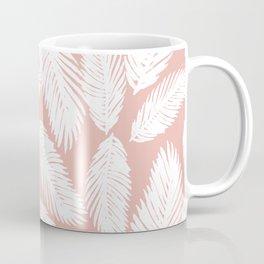 White Tropical Palm Tree Fern Leaf on Rose Gold Pattern Coffee Mug