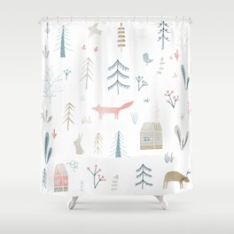 Enchanted Woodland Forest Pattern Shower Curtain