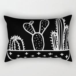 Cactus Planter Gray on Black Rectangular Pillow
