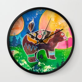 Family bear - animal - by LiliFlore Wall Clock