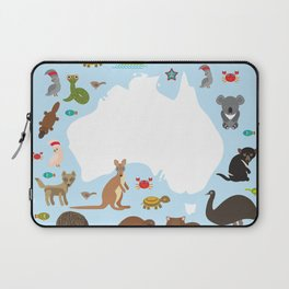 map of Australia. Echidna Platypus ostrich Emu Tasmanian devil Cockatoo parrot Wombat snake turtle Laptop Sleeve