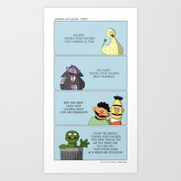 sesame street Art Prints featuring Learning With Sesame Street! by tgacomics