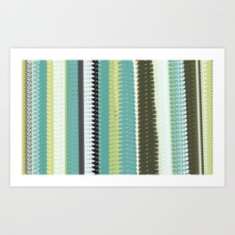 Green, Black, and Blue Woven Blanket Design Art Print