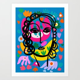 Line Art Portrait of a French Girl with Abstract Flowers  Art Print