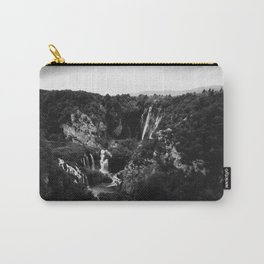 veliki slap waterfall 1 plitvice lakes national park croatia bw vintage Carry-All Pouch