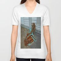 anchors V-neck T-shirts featuring Rusty anchors by Ricarda Balistreri