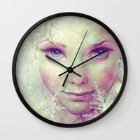 ice Wall Clocks featuring Elsa by Anna Dittmann