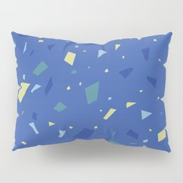 True Blue Terrazzo - Yellow and Navy Speckles Granite Marble Pattern Pillow Sham