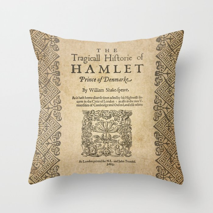 Shakespeare, Hamlet 1603 Throw Pillow