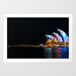 Composite image of Sydney Opera House at night Art Print