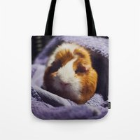 guinea pig Tote Bags featuring My brothers guinea pig by Jamie de Leeuw