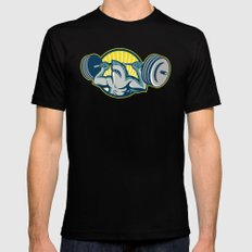 Shark Weightlifter Lifting Barbell Mascot Black Mens Fitted Tee SMALL