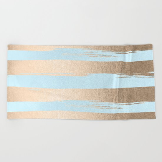 Paint Stripes Gold Tropical Ocean Sea Turquoise Beach Towel