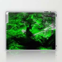 Emerald Blast - Abstract Black And Green Painting Laptop & iPad Skin