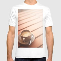 Coffee White MEDIUM Mens Fitted Tee